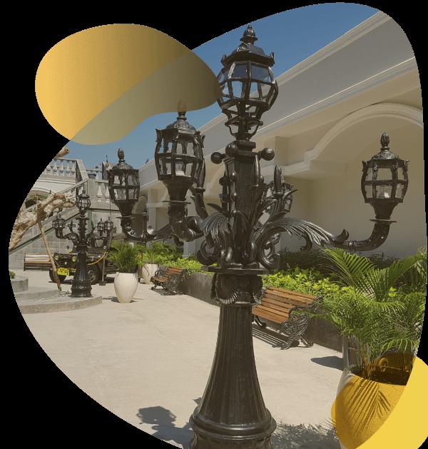 Tiang lampu taman antik klasik unik eropa cor baja besi simple minimalis