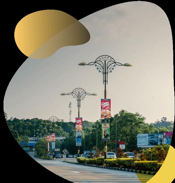 tiang lampu jalan PJU kota antik