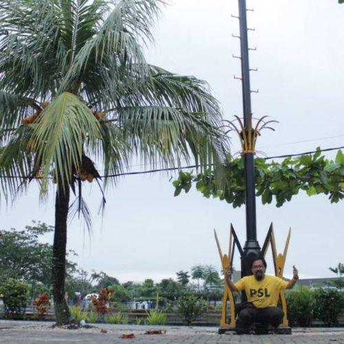 proyek tiang lampu highmast taman kabupaten belitung