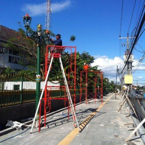 proyek tiang lampu antik cor stasiun tugu yogyakarta