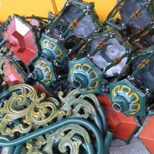proyek tiang besi cor antik lampu pendestrian stasiun jogja